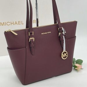 Michael Kors Large Charlotte Tote Bag Merlot